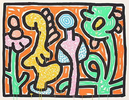 "Keith Haring, ""Flowers 4"",Littmann S. 177 o."