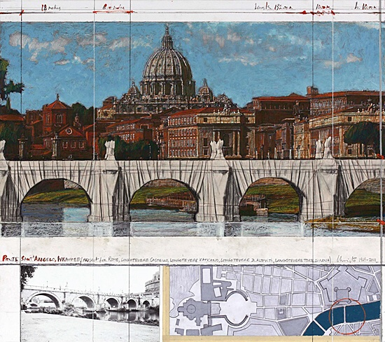 "Christo, ""Ponte Sant' Angelo, wrapped"",vgl. Schellmann 123"