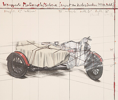 "Christo & Jeanne-Claude, ""Wrapped Motorcycle/Side Car"", Schellmann 176"