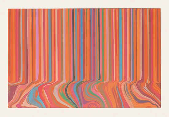 "Ian Davenport, ""Colourcade Buzz: Red and Orange Mirrored"""