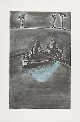 "Peter Doig, ""Two People at Night (indigo)"""