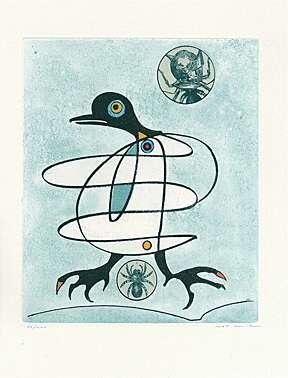 Max Ernst, Farbaquatintaradierung mit Collage auf Japon Nacré 1975