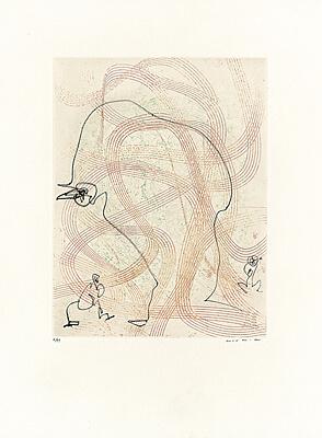 """Max Ernst, """"Bonjour"""" (Guten Tag), Farbradierung mit vernis mou 1966"""