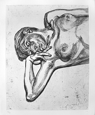"Lucian Freud, ""Head and shoulders of a girl"",Hartley 41"