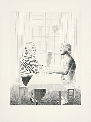 "David Hockney, ""Artist and model"",Scottish Arts Council 160"