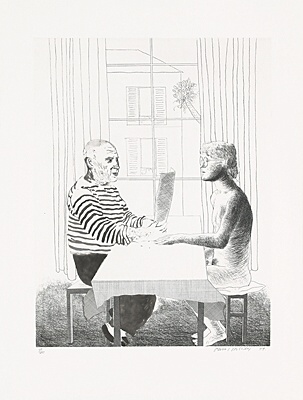 "David Hockney, ""Artist and model"", Scottish Arts Council 160"