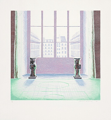 "David Hockney, ""Two vases in the Louvre"",Scottish Arts Council 168"