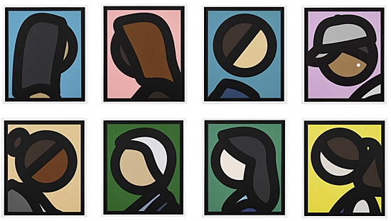 "Julian Opie, ""Paper Head 1., Paper Head 2., Paper Head 3., Paper Head 4., Paper Head 5., Paper Head 6., Paper Head 7., Paper Head 8., Paper Heads"""