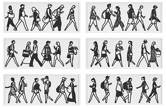 "Julian Opie, ""Walking in Melbourne 1-6."""