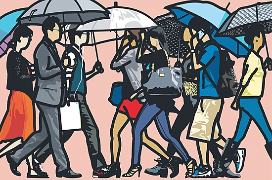 "Julian Opie, ""Walking in the rain Seoul 2015"""